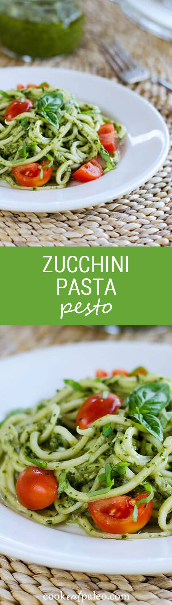 With fresh basil pesto, homegrown zucchini and tomatoes, this quick and easy zucchini pasta pesto is paleo, gluten-free, and dairy-free. ~ http://cookeatpaleo.com http://cookeatpaleo.com/zucchini-pasta-pesto/