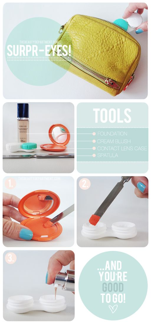 DIY: Touch ups on the go.: Good Ideas, Makeup Storage, Travel Photo, Contact Cases, Travel Tips, Makeup Bags, Contact Lens Cases, Diy Makeup, Small Bags