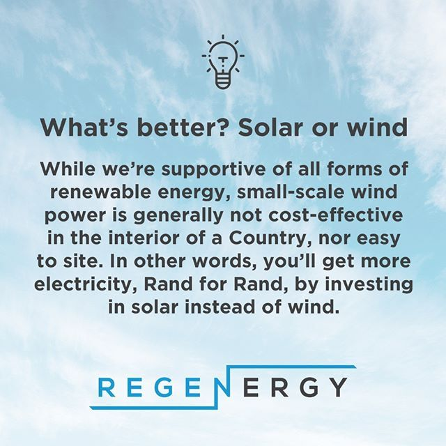Q What S Better Solar Or Wind A While We Re Supportive Of All Forms Of Renewable Energy Small Scale Wind Power Is Genera Renewable Energy Wind Power Energy