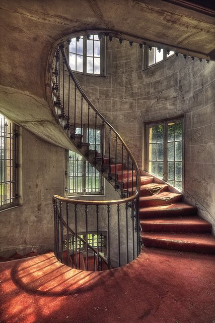 staircase inside the abandoned Chateau Jbb in Francy.