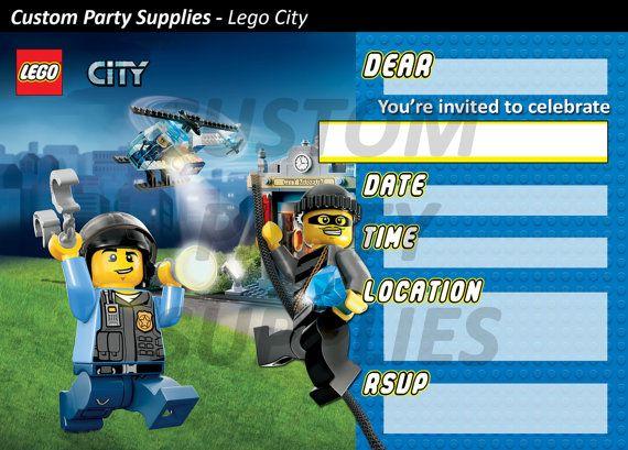 Lego City Birthday Party Invitations by CustomPartyInvite on Etsy