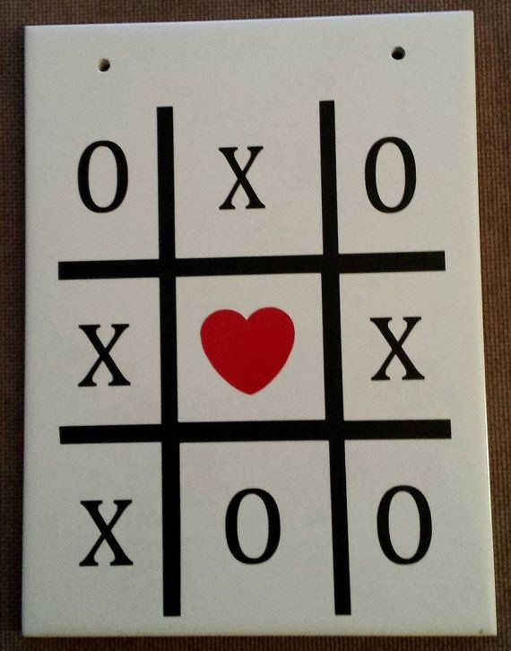 X and 0 Heart Vinyl Ceramic Tile Wall Plaque by SuperBVinyl
