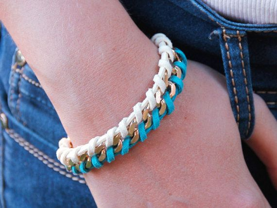 Nice gold and white and turquoise suede bracelet. You can wear it like this or twisted #chunky #chain  #suede #bracelet #mediterraniumjewelry