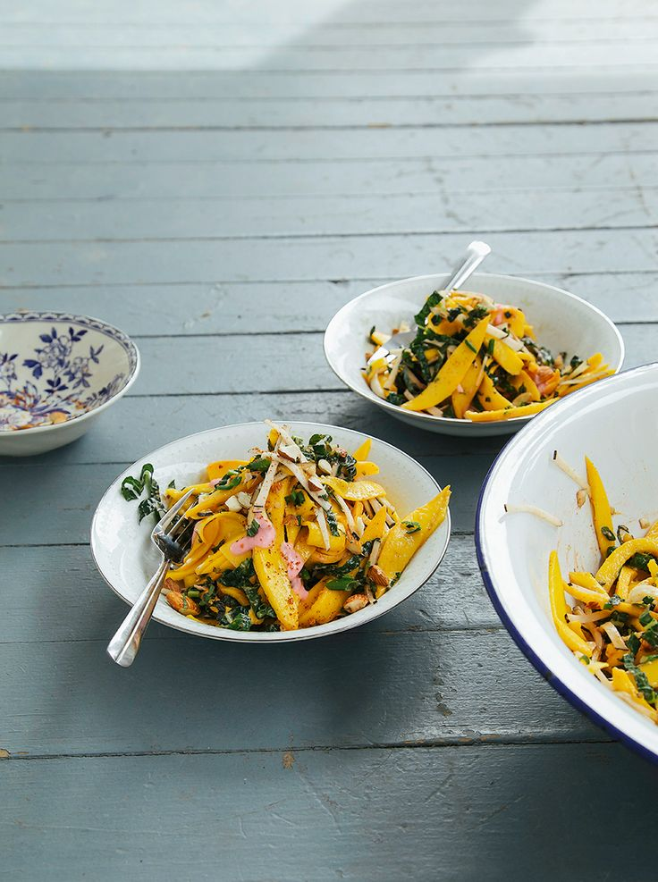 mango salad with rhubarb ginger dressing   chili almonds // the first mess