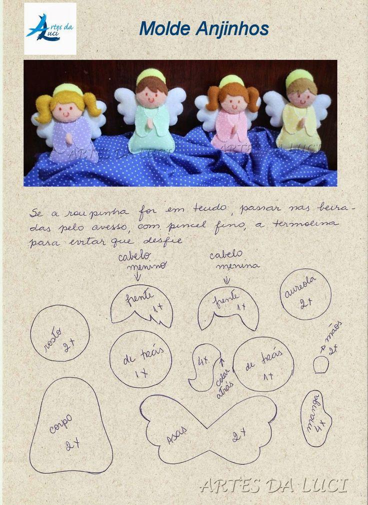 Esses anjinhos foram feitos para enfeitar uma guirlanda para porta de maternidade. Na segunda eu mostro :) Eles têm 8 cm de altura ...