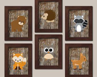 TRIBAL Nursery Wall Art Canvas or Prints Woodland by TRMdesign