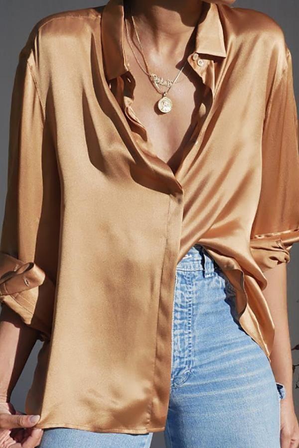 Satin shirt with gold jewelery - #gold jewelery #with #satin shirt