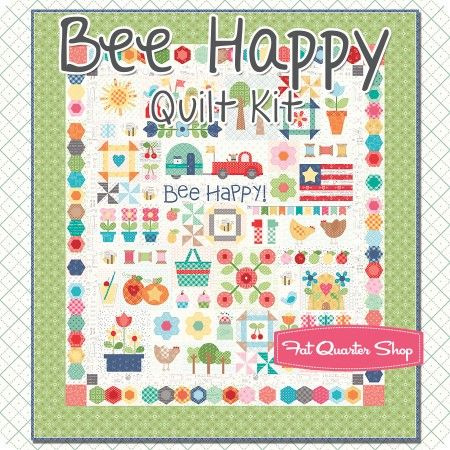 Bee Happy Quilt Kit Reservation Featuring Bee Basics and Backings by Lori Holt | Fat Quarter Shop