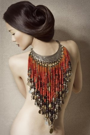 beaded coral collar