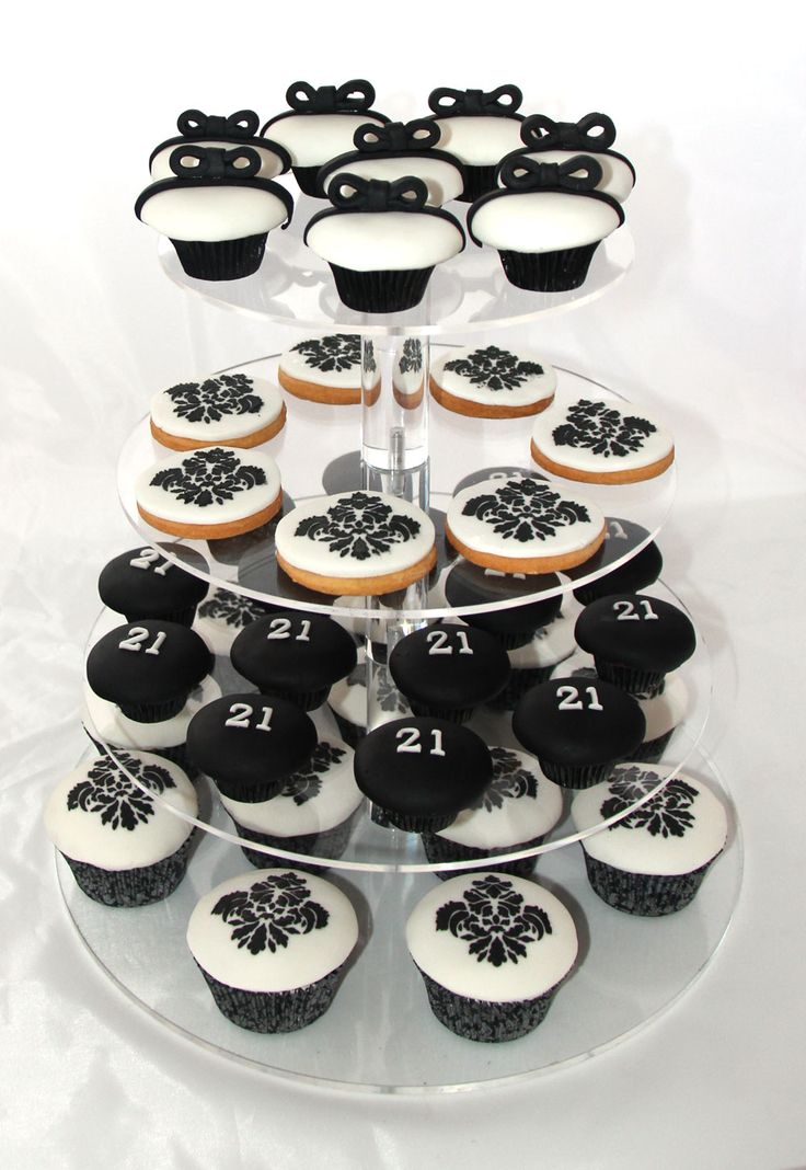 Black and White Cupcake and Cookie Tower Like us at www.facebook.com/melianndesigns