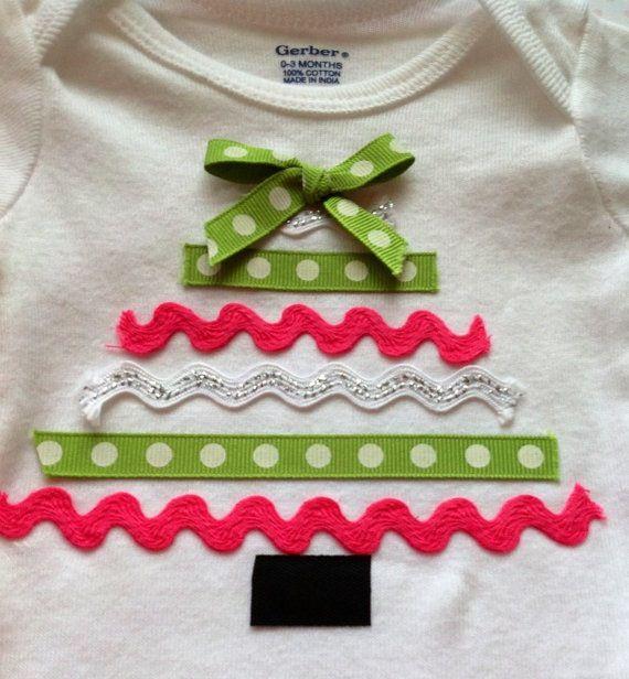Ribbon Christmas Tree Onesie,babys first Christmas,Christmas Onesie, baby…