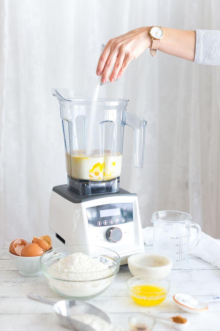 Making batter in Vitamix for Crepe King Cake by Baking The Goods     @beckysuebakes     bakingthegoods.com
