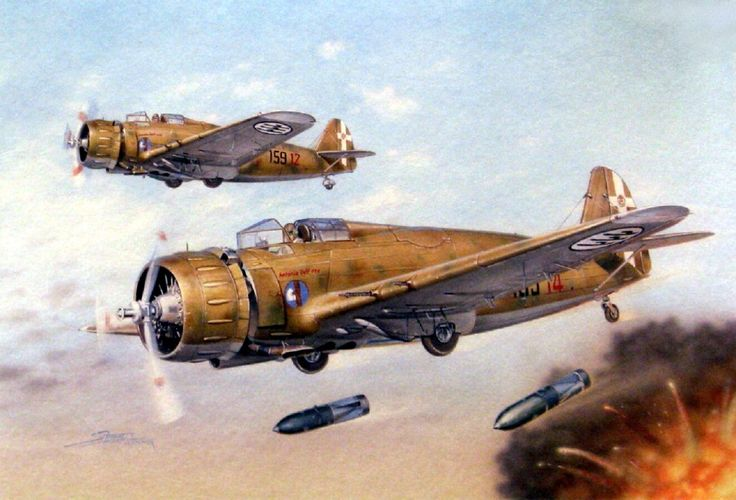 Italian Breda Ba-65s over North Africa