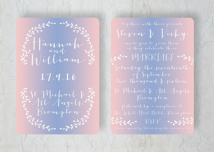 Rose Quartz & Serenity Wedding Invitation by Swoon at the Moon #pantone #colouroftheyear #rosequartz #serenity: