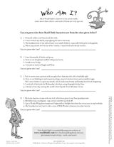 Who Am I? Roald Dahl Character Identification worksheet. http://www.teachervision.fen.com/childrens-book-characters/printable/67289.html #literature #RoaldDahl