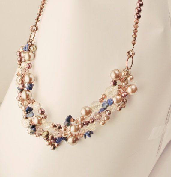 peach necklace with lapis by Lisbethstafnedesigns on Etsy