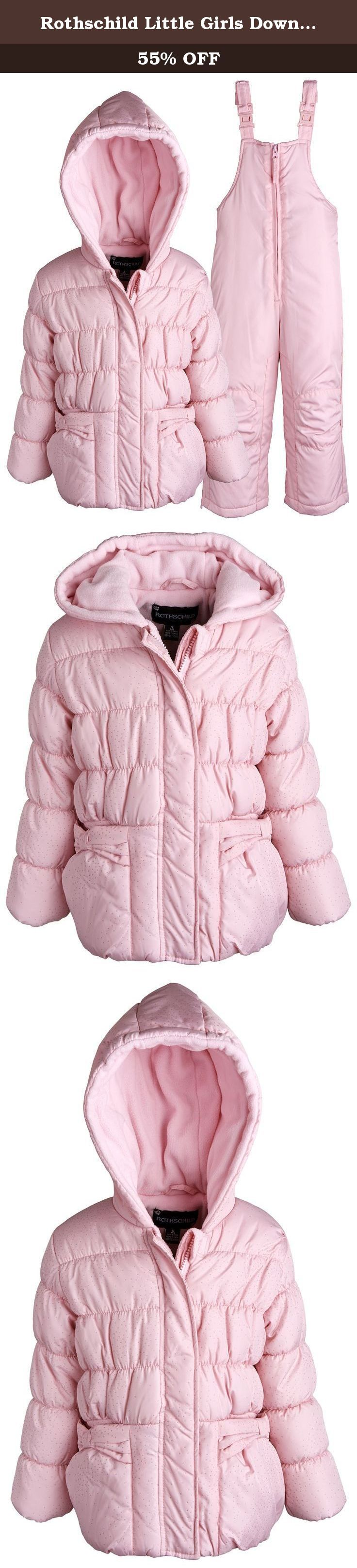 Rothschild Little Girls Down Alternative Bubble Snowsuit Ski Bib and Jacket Set - Petal Pink (size 2T). Warmth and protection by Rothschild. Ultra soft fleece lines the upper body and it is filled with thick down alternative material. This well designed 2 piece snowsuit will definitely help her cope those extreme weathers. Jacket is enhanced with bows and sparkles. Reinforced knee patches. Available in sizes 12M to 6X (for other size ranges, please see our Amazon storefront).