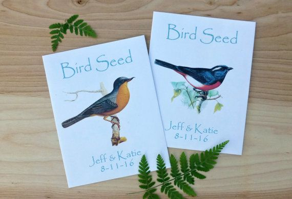 Bird Seed Favors Set of 20.  Bird Seed Packets by LeafDecor