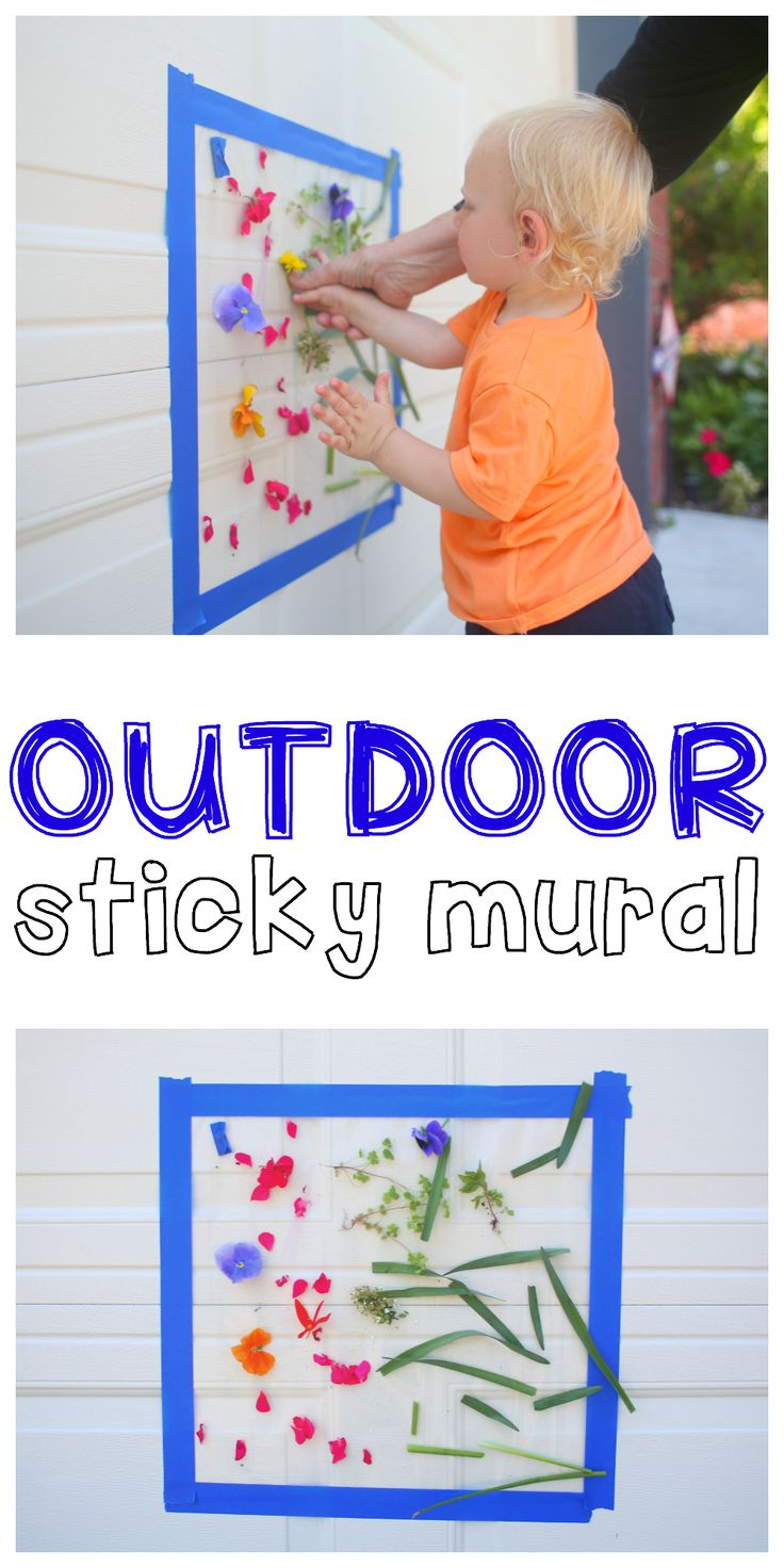 Outdoor Sticky Mural: Such a fun outdoor activity for toddlers and preschoolers that uses natural materials to create a beautiful masterpiece!