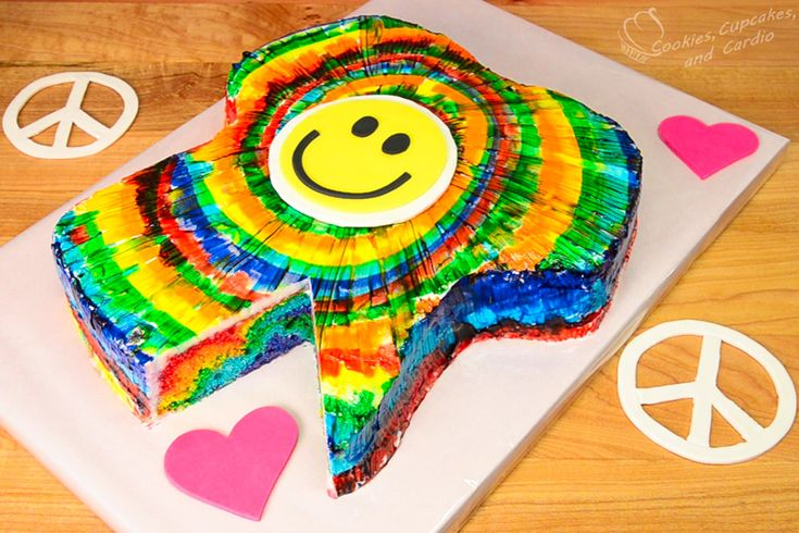How to Make a T-Shirt Shaped Rainbow Tie-Dye Cake - Cookies, Cupcakes, and Cardio
