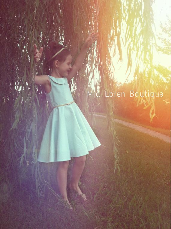 Seafoam/Mint Flower Girl Dress (Kona ICE FRAPPE) / The Zoe Dress / Ages 6-10 years / Peter pan Collar / Choose Color on Etsy, $129.99