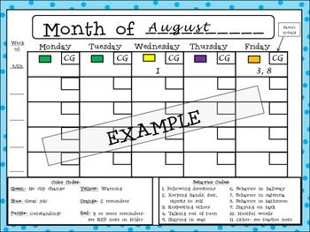"""Behavior calendars and class chart, letter to parents about class behavior system, """"I was on red"""" notes and """"I was on purple"""" celebration notes."""