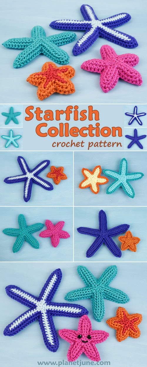 Starfish Collection is a mix-and-match no-sew crochet pattern that includes 4 sizes of sea stars with three colour patterns, 3D and flat applique versions, and instructions for making amigurumi-style starfish with a cute happy face!