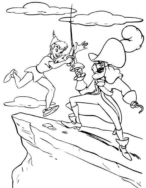 Nice Coloring Page Of The Disney Movie Peter Pan Color Fight Between Captain Hook And A Beautiful Drawing For Kids