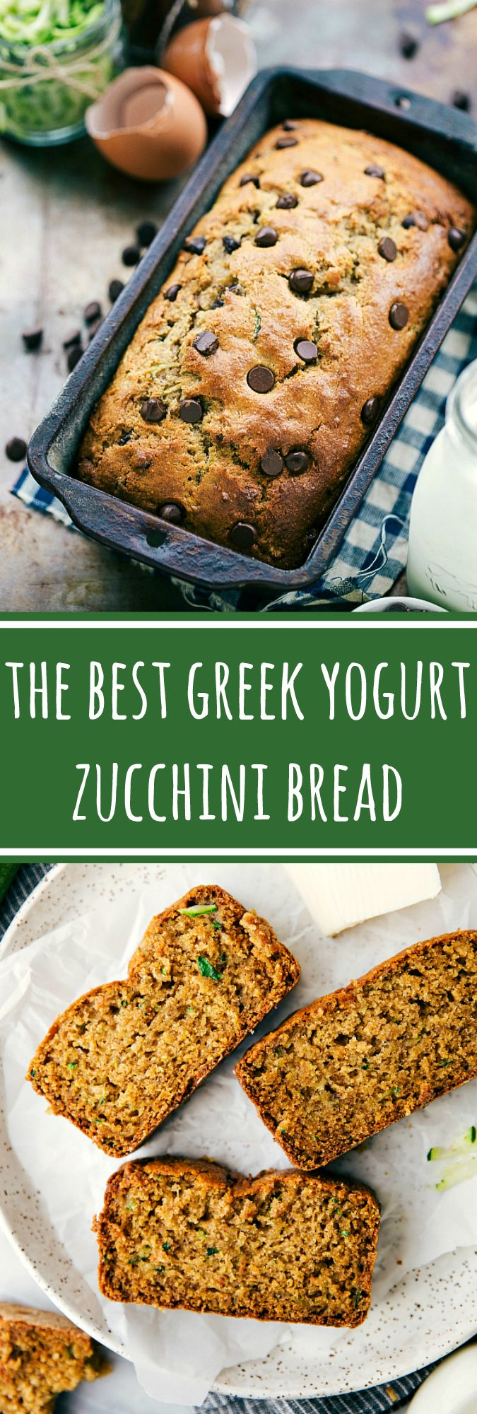 With or without chocolate chips, this Greek yogurt healthy zucchini bread is the BEST! Rave reviews from many!