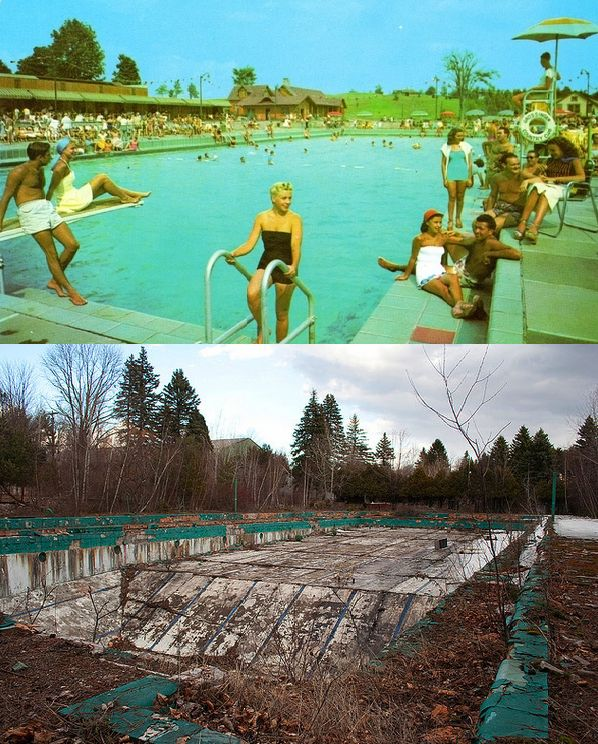 A before/after of the now abandoned Catskill Resort Hotel.Grossinger's Catskill Resort Hotel A before/after abandoned so sad!!