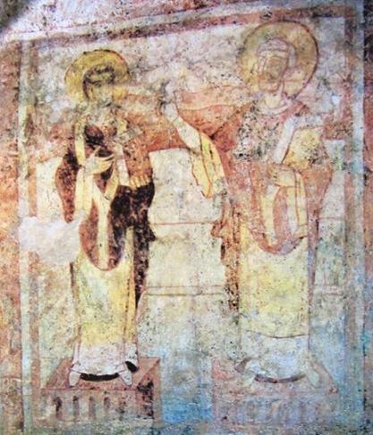 Saint-Germain d'Auxerre: fresque carolingienne de 2 évêques. 5) Peintures murales du 9°s, les plus anciennes de France réalisées autour de 850. Le corps de St-Germain, évêque d'Auxerre, grand voyageur, mort à Ravenne en 448, fut rapatrié dans son diocèse. Très vite les pèlerins affluèrent. Au 9°s l'oncle de Charles le Chauve recouvra la vue après être venu prier sur la tombe du saint.