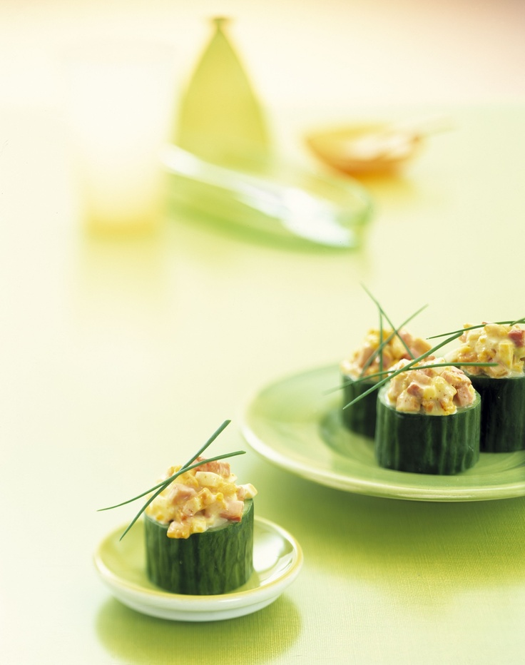 Healthy snack: mini cucumber stuffed with ham and egg