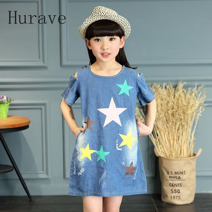 Hurave 2017 Girls casual style cowboy  dress star kids jeans dress baby girl children vestidos hot sale kids clothings #Affiliate