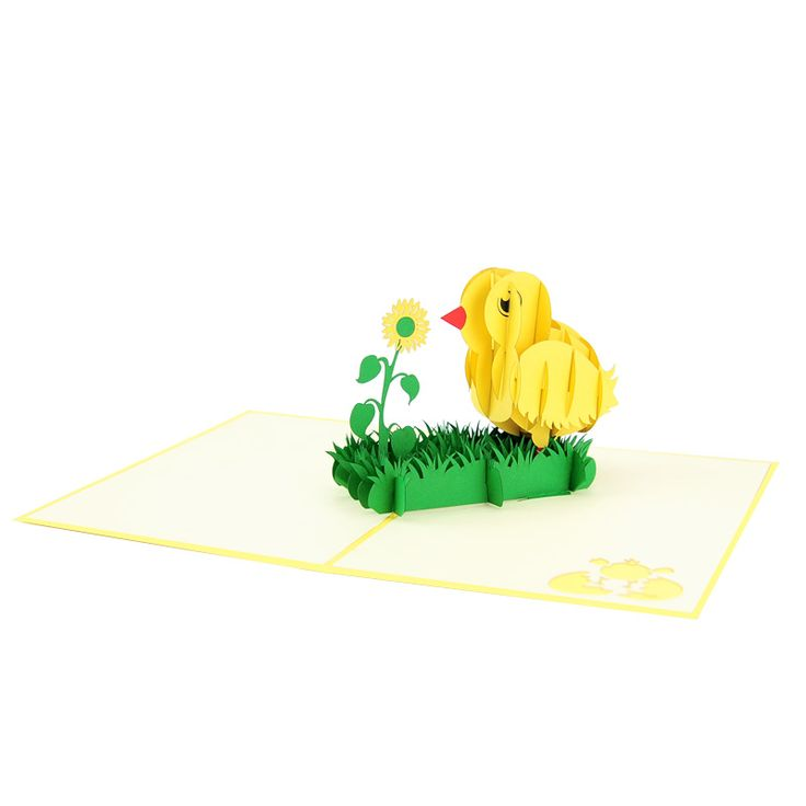 Easter Baby Chick Pop Up Card  Easter baby chick pop up card has a happy yellow cover with a baby chicken pattern. The image reveals just enough of the surprise inside. Open the card and you will find a stunning three-dimensional sculpture of a lovely baby chick and a cute flower. We always leave the card blank so that you can personalize your own words.