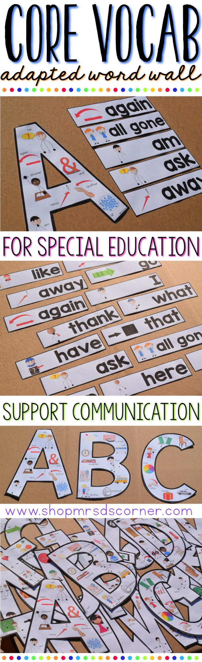 Support your students' communication needs by giving them a visual, core vocabulary word wall. Bring the traditional idea of a content word wall in to your special needs classroom with this Core Vocabulary Word Wall Starter Kit. Word Wall for Special Education. Only at Mrs. D's Corner.