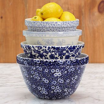 Burleigh Cobalt Mixing Bowls | Mixed Blue | Stonewall Kitchen - Specialty Foods, Gifts, Gift Baskets, Kitchenware and Kitchen Accessories, Tableware, Home and Garden Décor and Accessories