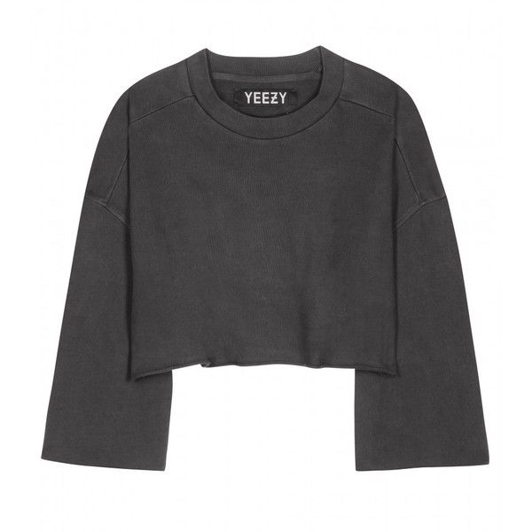 Yeezy Cropped Cotton Sweater (Season 1) found on Polyvore featuring tops, sweaters, clothes - tops, grey, cropped sweater, crop top, gray sweater, grey crop top and cotton sweater