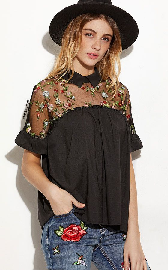Black Embroidered Sheer Neck Ruffle Cuff Tie Back Top