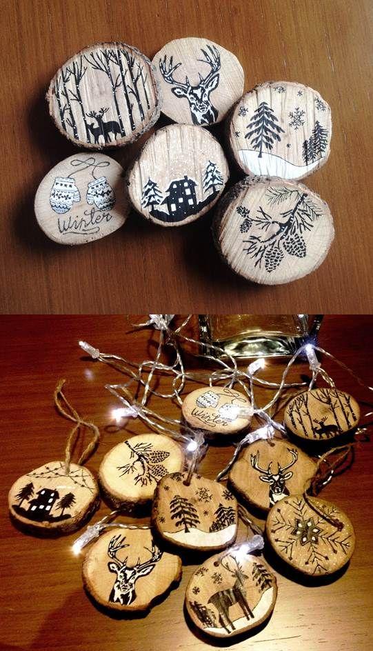 #madera #Posca #navidad Adornos navideños con roscos de madera y pintados con rotuladores Posca. Cuelgalos de donde quieras!