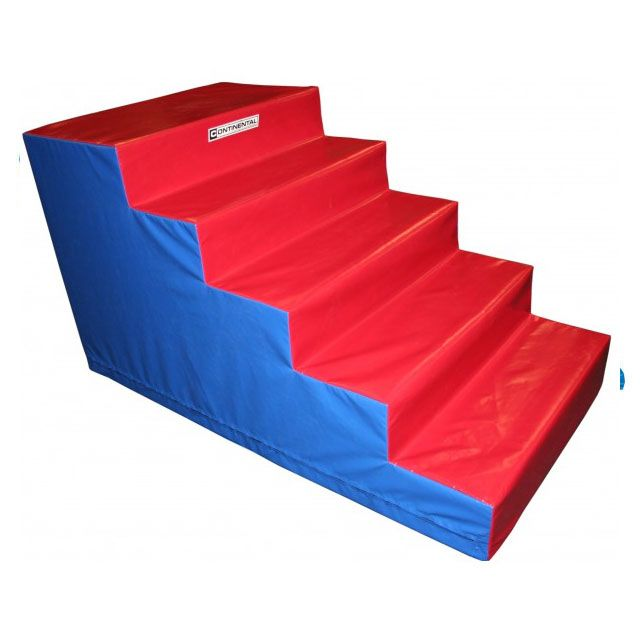 Good quality foam steps for access and mounting of gymnasium and professional trampolines, six treads, with heavy duty foam inners and 610gsm PVC coated fabric outer cover. 1000mm high x 1500mm deep x 1000mm wide.