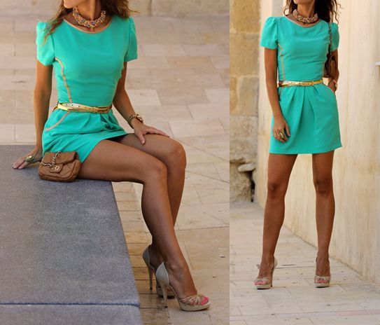 .Colors Combos, Fashion, Street Style, Than, Clothing Outfit, Gold Accent, The Dresses, Turquoise Dresses, Bibs Necklaces