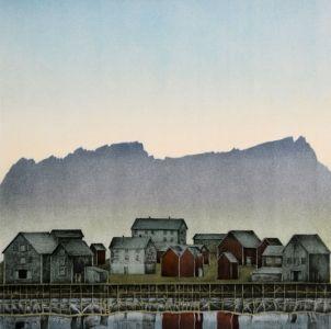 Jan Harr - Hamnøy | Galleri Briskeby | litografi