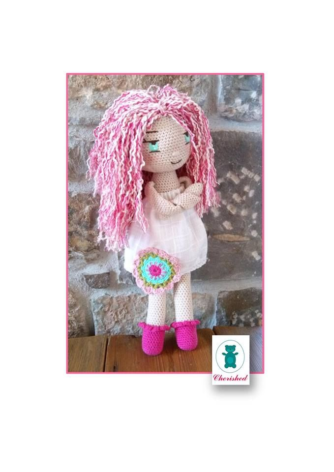 Handmade rochet doll 40cm with cotton yarn, white fabric dress and emboidered face.