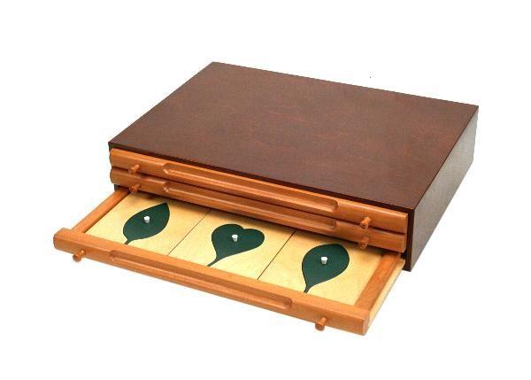 Komoda Botaniczna pomysłu Marii Montessori może być wspaniałym rozszerzeniem botanicznych prac plastycznych. Jej szufladki kryją drewniane ramki z wkładami różnych kształtów liści. Na początku można je dopasowywać na zasadzie nakładanki, kształtując rozróżnianie wzrokowe, można szukać podobnych w naturze, a w później także poznawać nazwy poszczególnych rodzajów liści.
