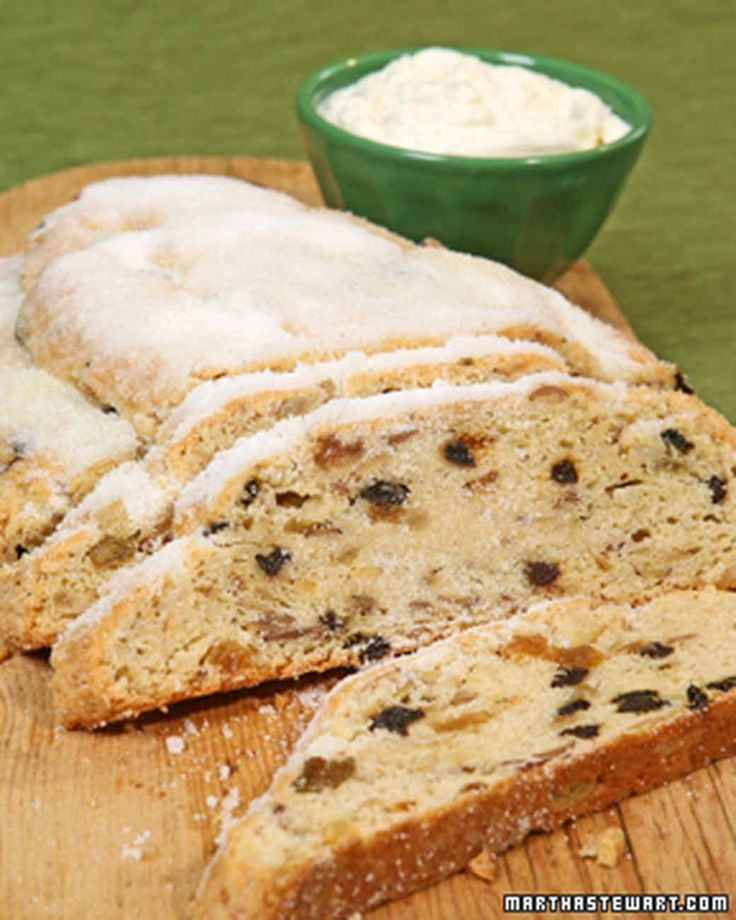 Christmas Morning Stollen Easy Holiday Fruitcake and Sweet Bread Recipes | Martha Stewart Living — Ricotta cheese and butter make a rich, moist stollen filled with almonds, rum-soaked raisins, and currants.