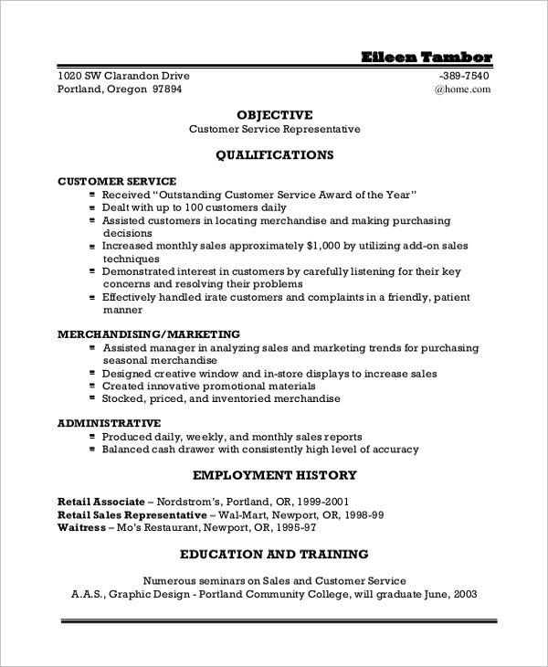 sample resume objective for customer service statement