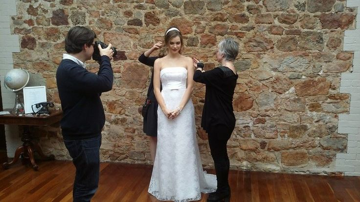 """Micaela Stark from Finesse looking stunning in our 'Audrey' gown being """"fixed"""" from all angles"""