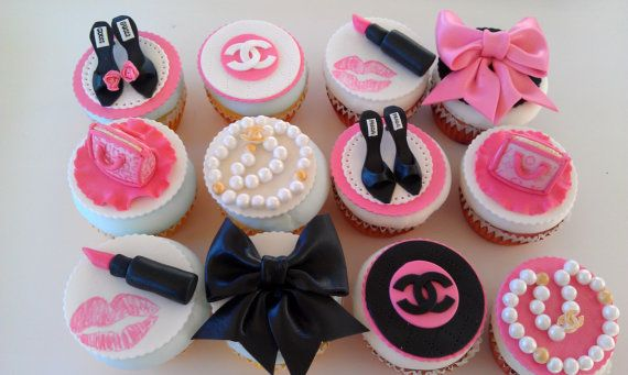Edible Cupcake Toppers Fashion Theme, purses, shoes, dogs, shopping bags, wine, champagne, and more on Etsy, $48.00