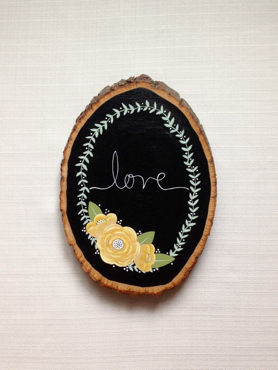 Love Yellow Rose Rustic Wood Slice Hand by HannahPickeringArt on a Walnut Hollow Basswood Round