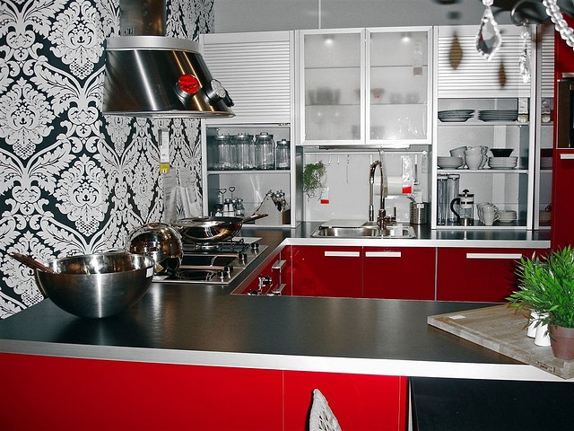 ikea black white and red kitchen. be still my heart. and damask. <3 <3 <3